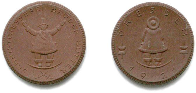 Promotional coins from 1921, likely made for a trade fair. Photo by Maurice Göldner
