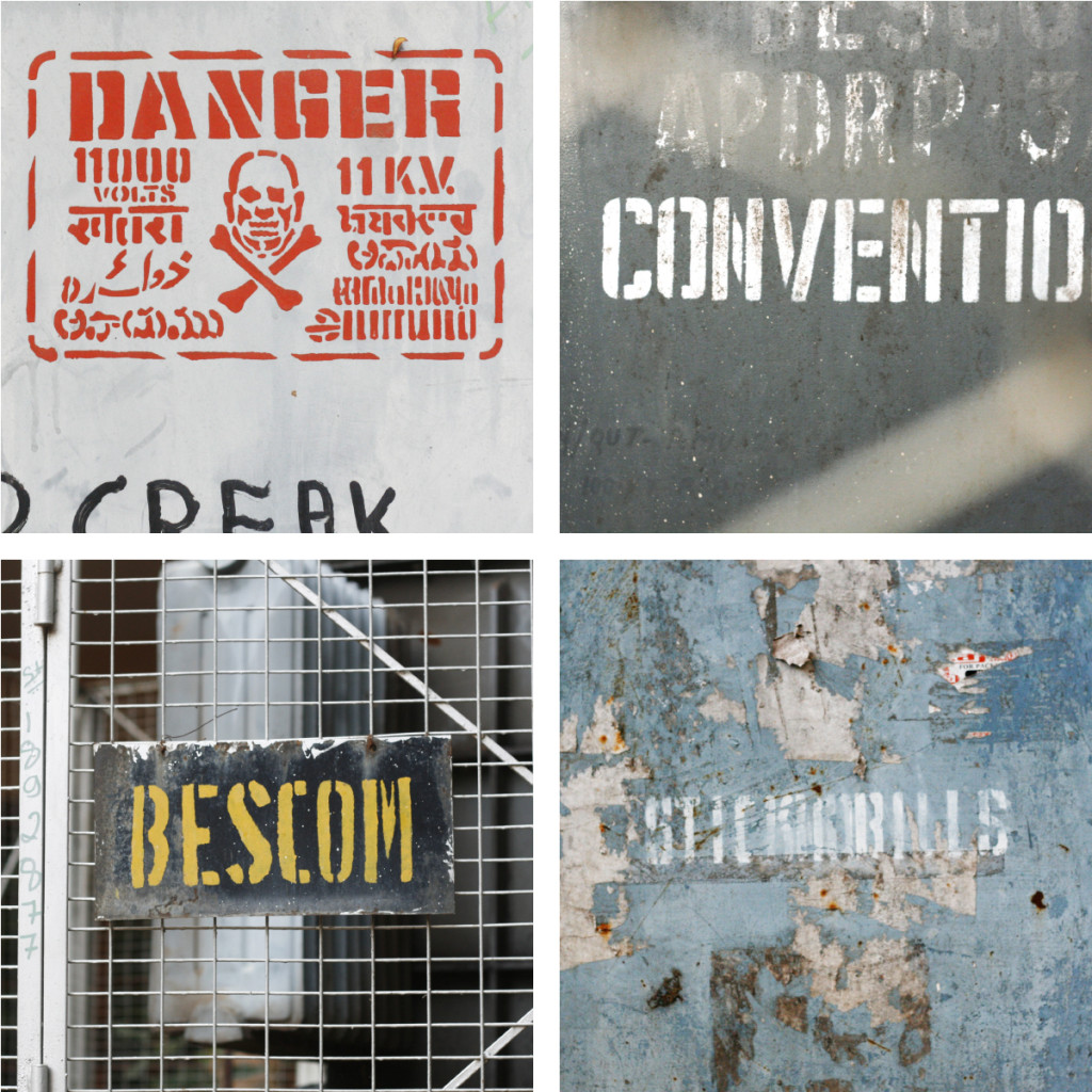 BESCOM stencil lettering