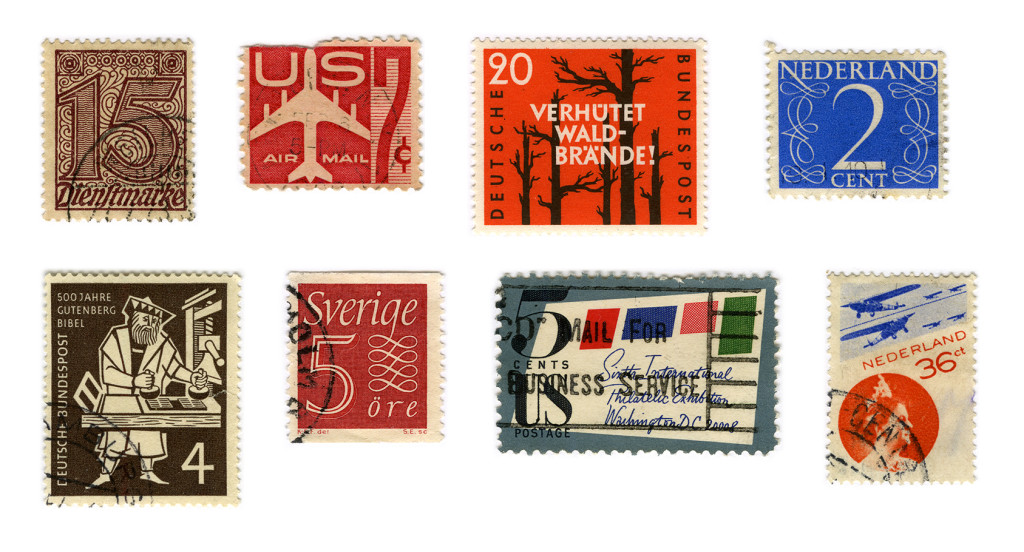 From left to right stamps designed by: unknown (2), Kern, Jan van Krimpen, Walter Brudi, Karl-Erik Forsberg, Thomas F. Naegele and Piet Zwart.