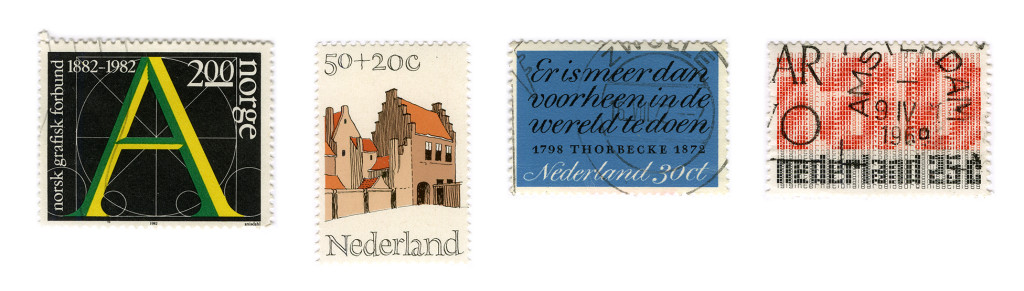 From left to right stamps designed by: Leif Anisdahl, Gerrit Noordzij (2) and Juriaan Schroder