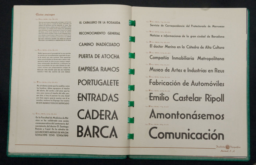 Type Specimen of Fundición Tipográfica Nacional, featuring Carlos Winkows's Electra, image courtesy of Jose Patau