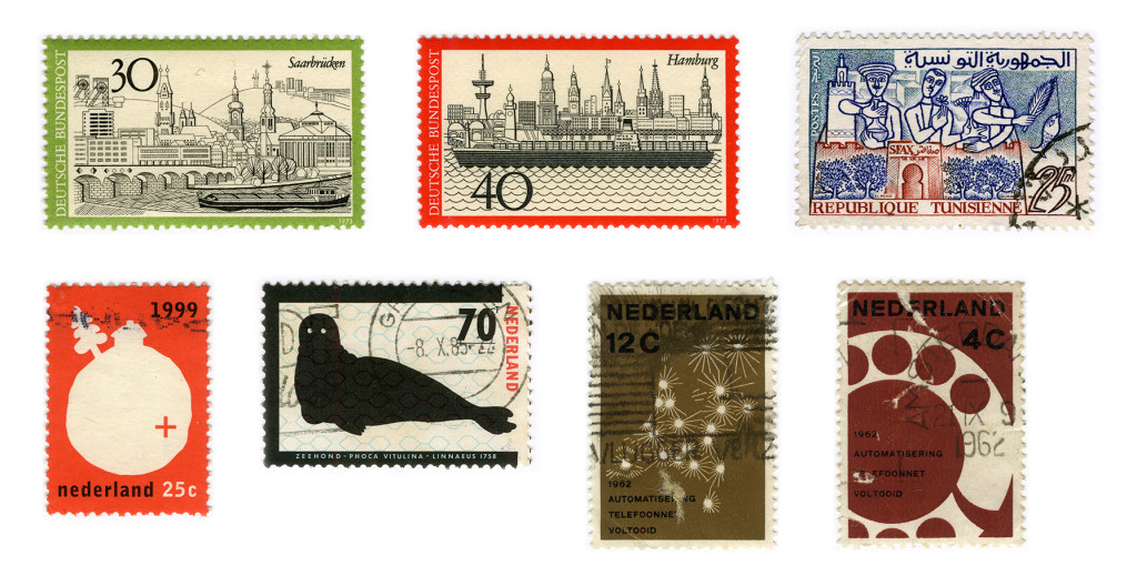 Some of the first stamps I bought.<br /> From right to left stamps by: Heinz Schillinger (2), Hatem El Mekhi, Willem Henri Lucas, Anthon Beeke and Otto Treumann (2)