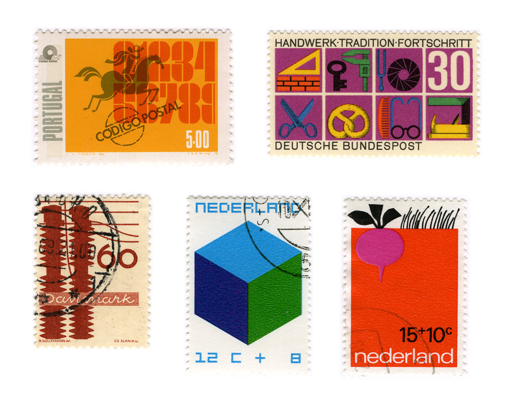From left to right stamps designed by: J. L. Tinoco, Karl Oskar Blasé, R.Nellemann, William Pars Graatsma and Babs van Wely