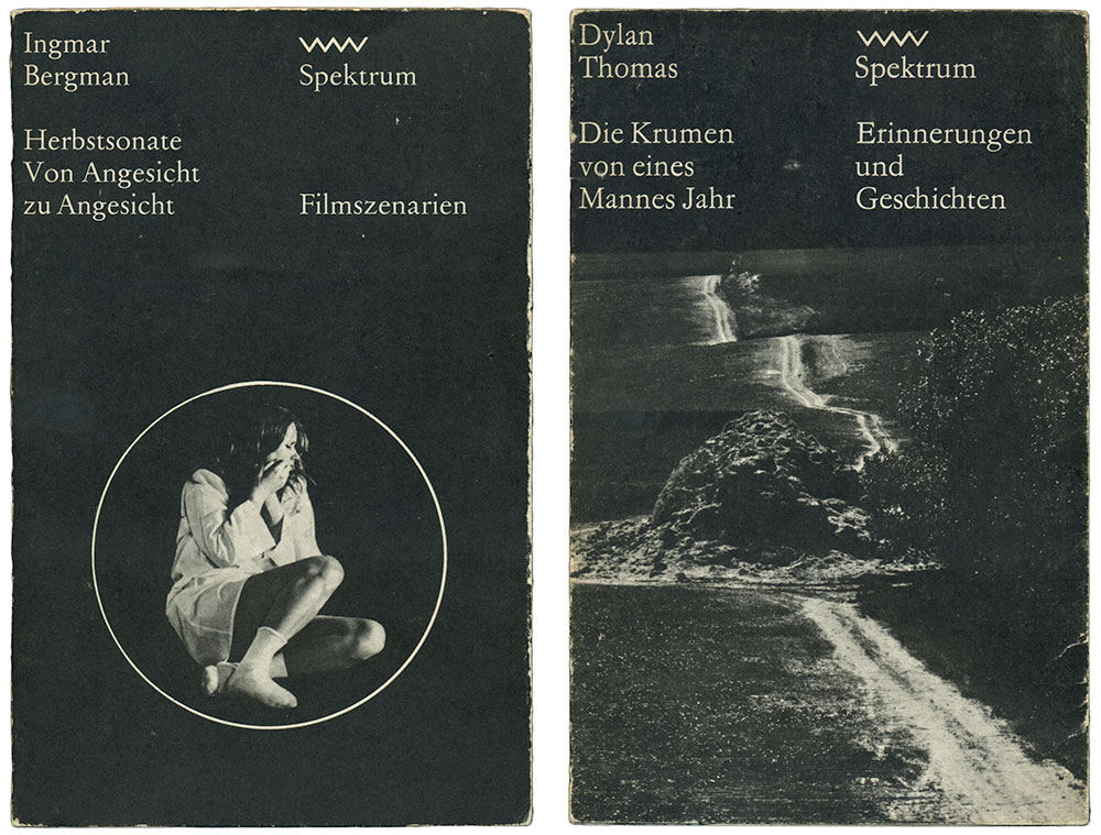 Examples of the Spektrum book series (Verlag Volk und Welt), designed by Lothar Reher