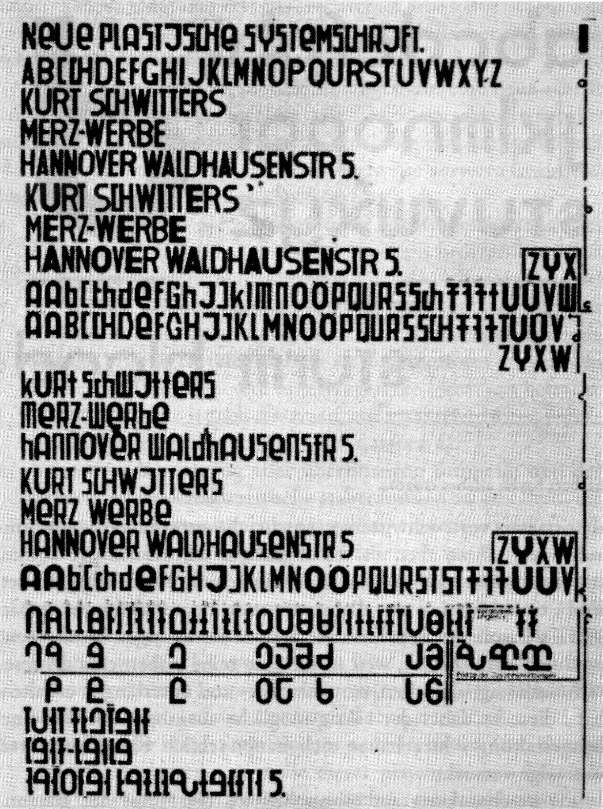 Kurt Schwitter's monocase design for a Systemschrift (1927)