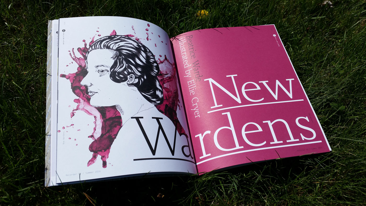 "Cover spread in of ""The New Wardens"" in The Recorder #3. Illustration by Ellie Cryer. Additional illustrations by Ping Zhu, Ellie Foreman-Peck, Maya Stepien and Kelsey Dake."