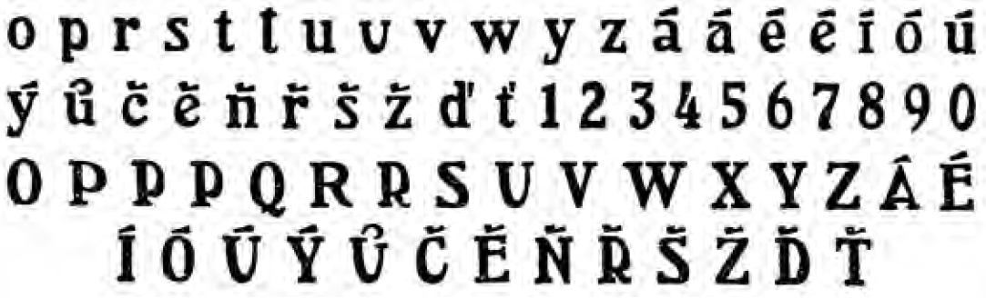 Diacritics and modified letters for the typeface Arlington, Vojtěch Preissig, 1909