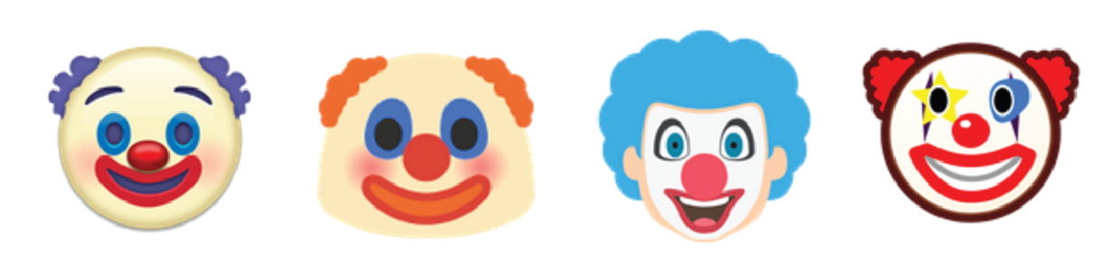 Hi kids, I'm just hiding under your bed. The new Clown Face emoji, as part of Unicode 9.0. via http://emojipedia.org/clown-face/