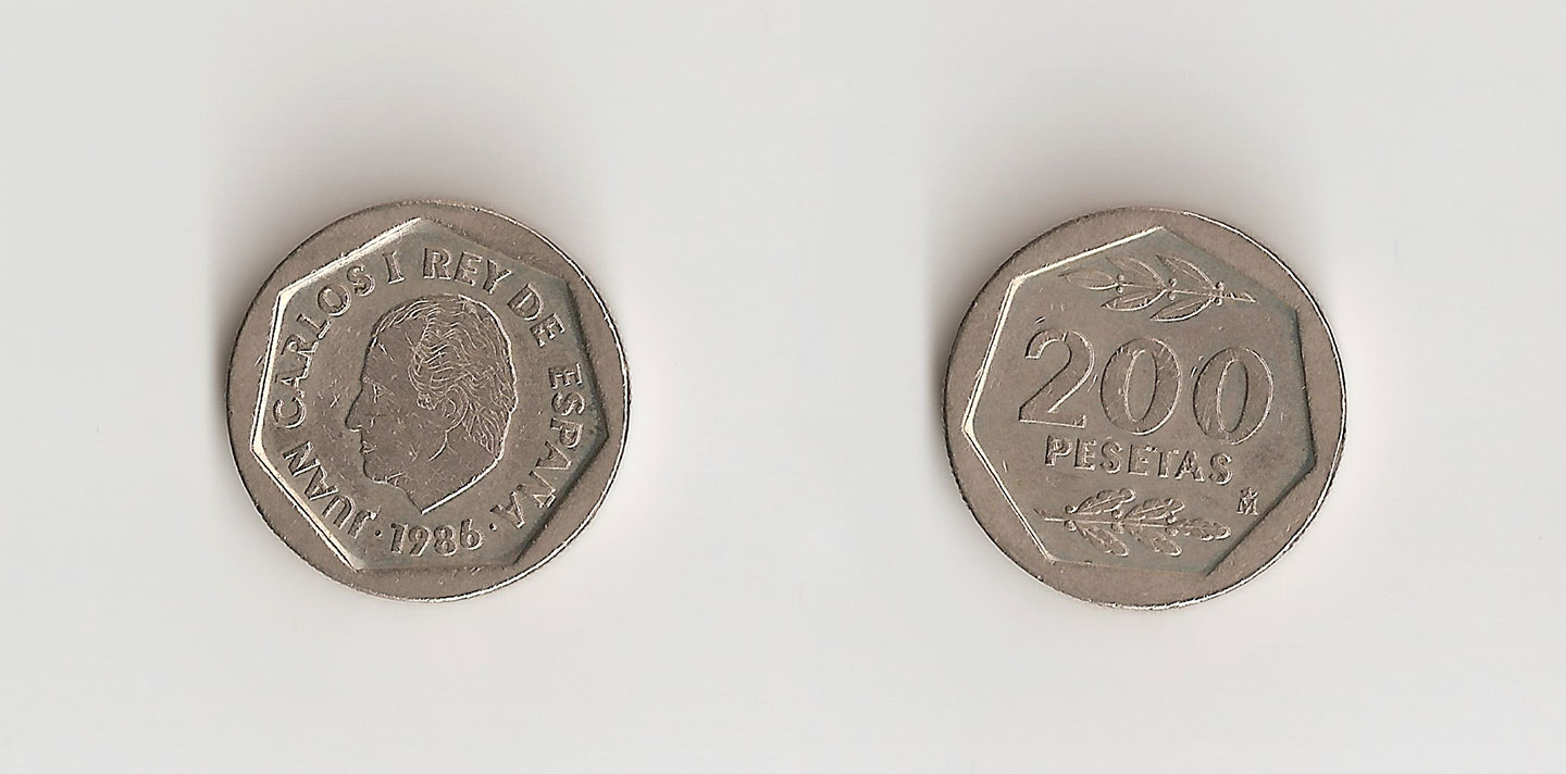 The two sides of the 200 pesetas coin (1986)