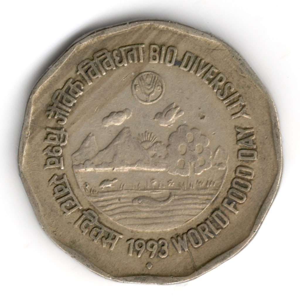 Close-up of World Food Day (1993) coin