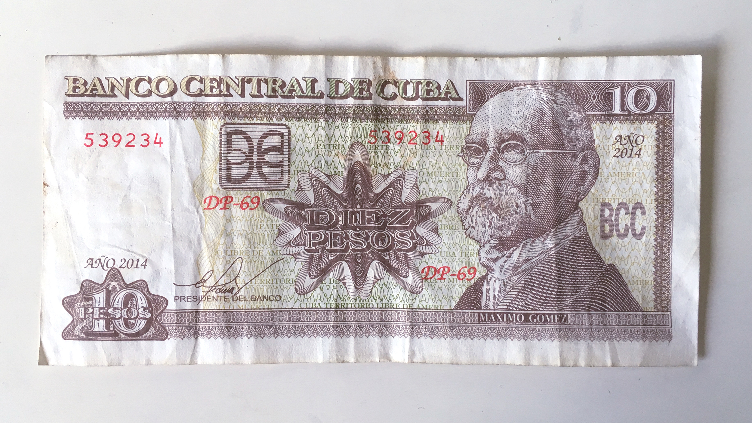 A 10 Peso Note From The Local Cuban Currency Cup