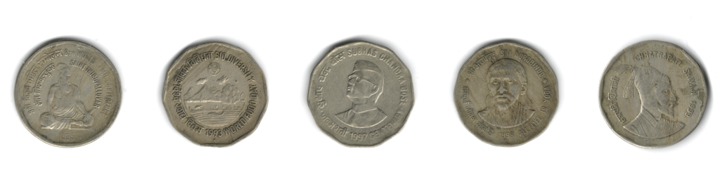 Commemorative ₹2 coins: Saint Thiruvalluvar (1995), World Food Day (1993), Subhash Chandra Bose (1997), Sri Aurbindo (1998), Chhatrapati Shivaji (1999) in the top row