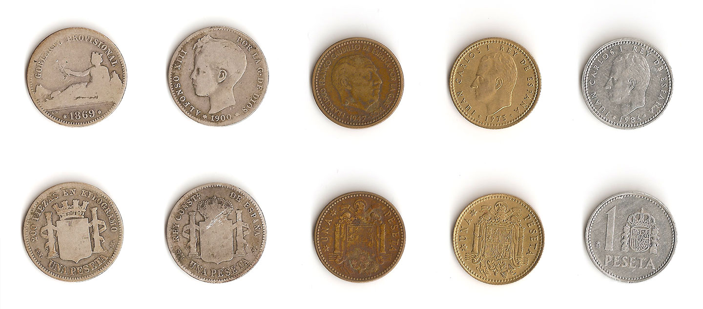 The two sides of 5 historical models of the 1 peseta coin. From right to left, peseta from 1869, 1900, 1947, 1975 and 1986