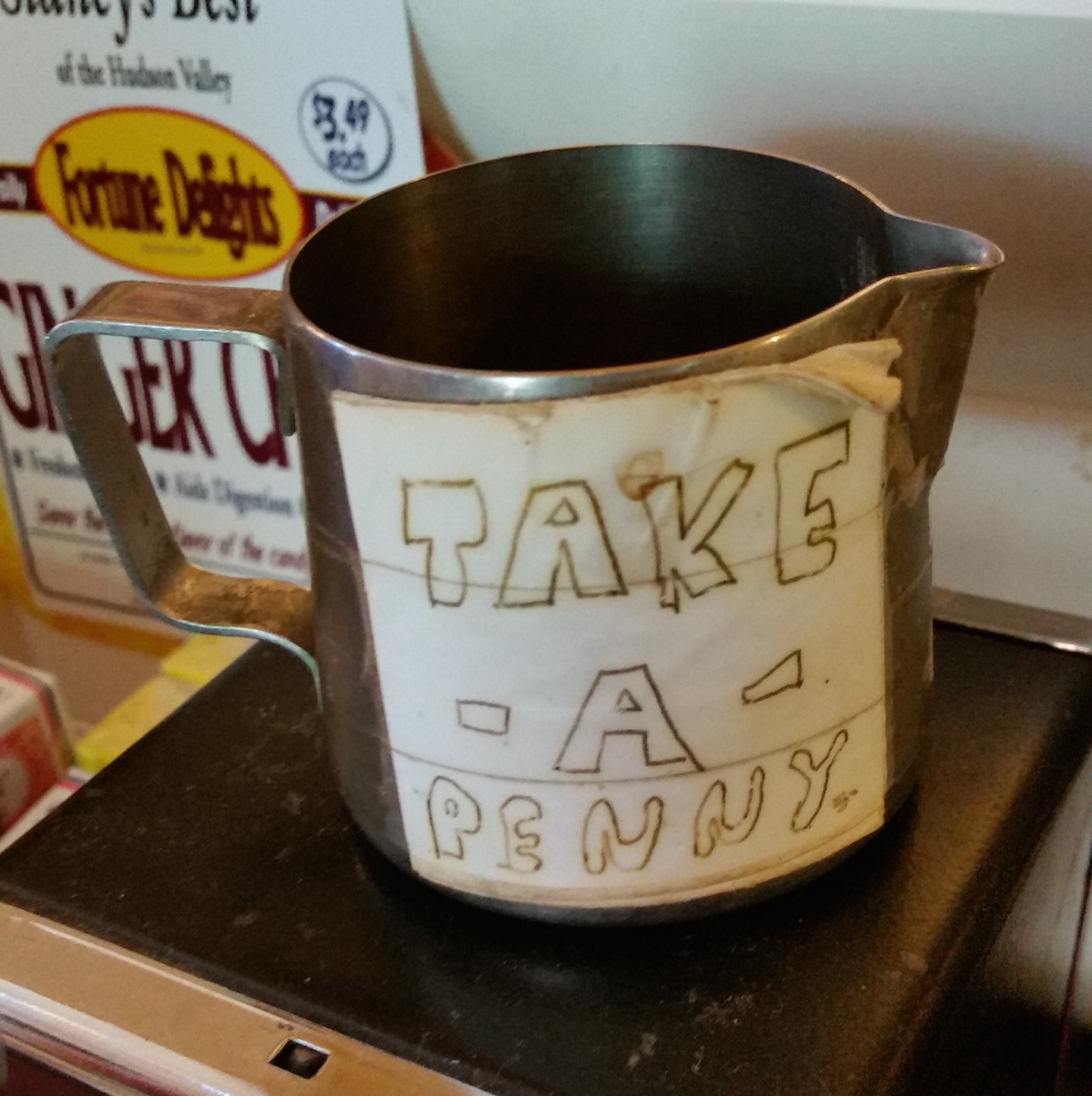 Found at The Bakery, love the handlettering and creative use of the creamer.