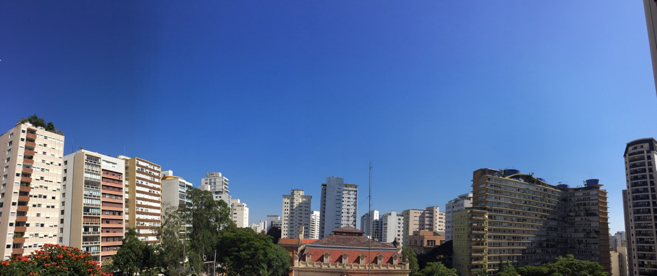 The São Paulo view is actually from my bedroom rather than the office, which would be mostly the building next door.