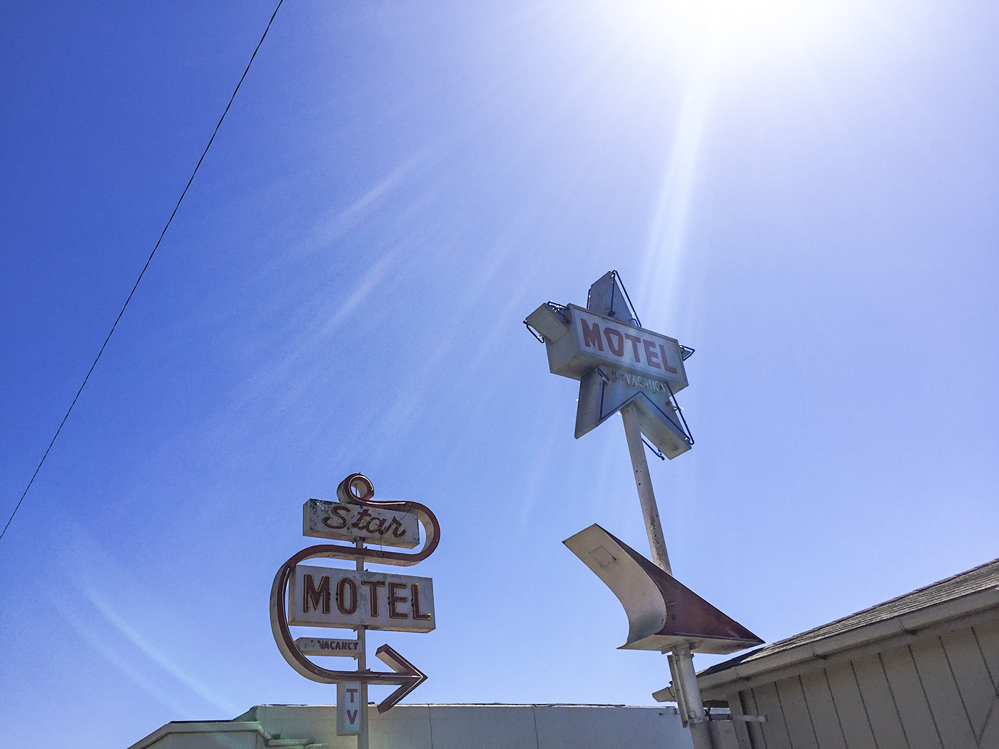 Perhaps this is where the Jetsons stay when in Lompoc. The 'O' on the star sign reflects the funky geometric shapes.