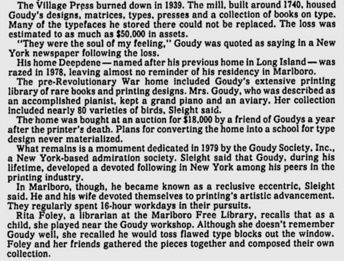 1986 article about the Goudys