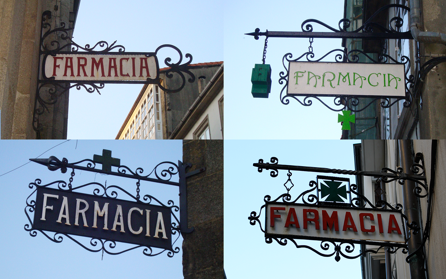 Samples of several pharmacy signs using different type styles
