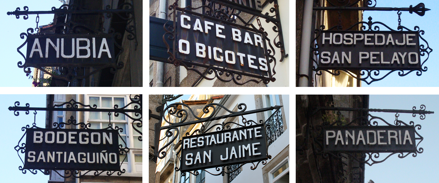 A few examples of signs used for advertising places like restaurants, hostels or bakeries.