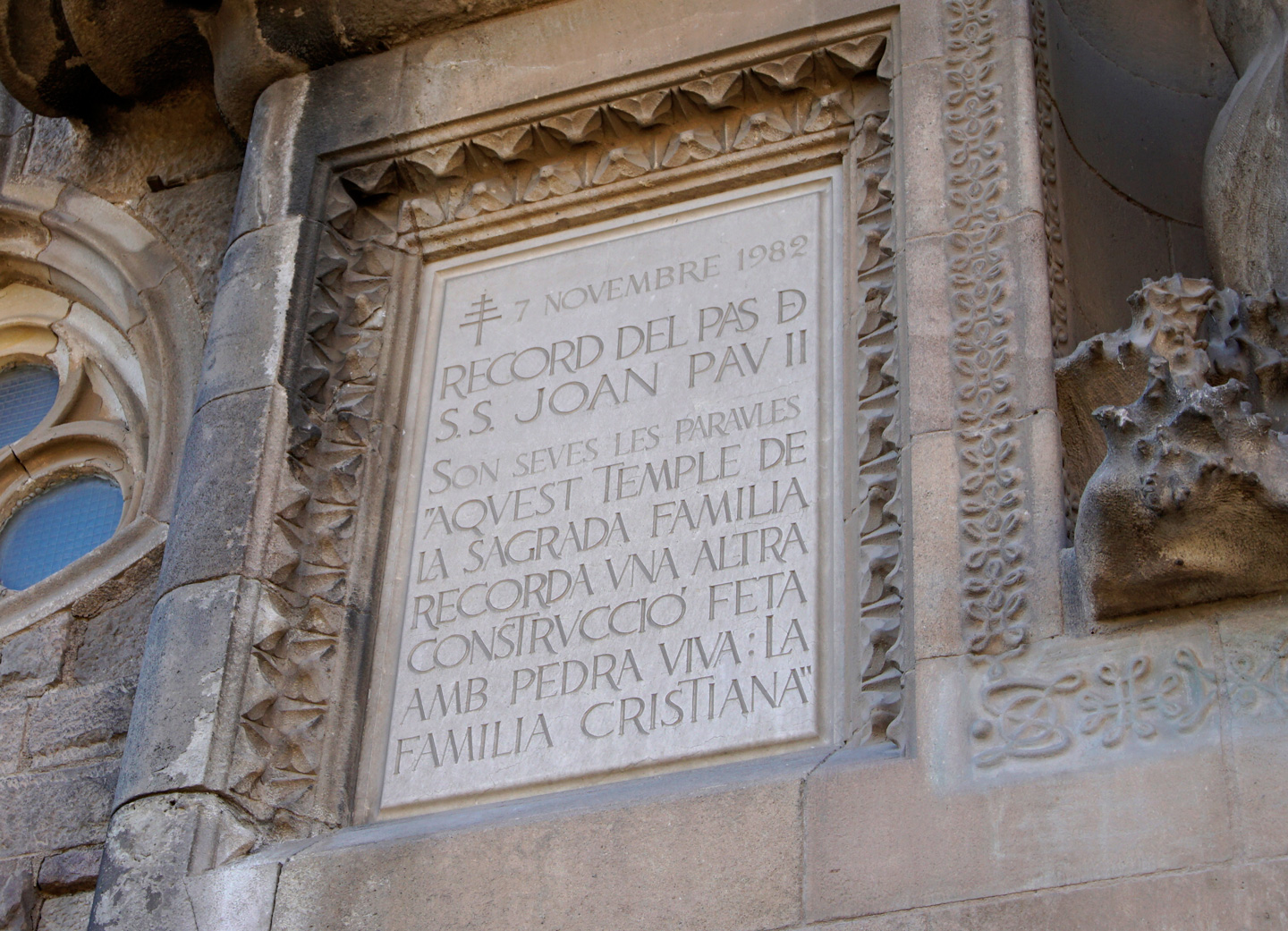 A panel full of roman capitals on the Nativity Façade