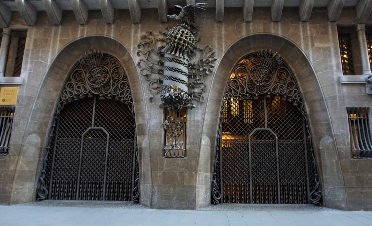 Iron-wrought 'G' on the gate of Palau Güell
