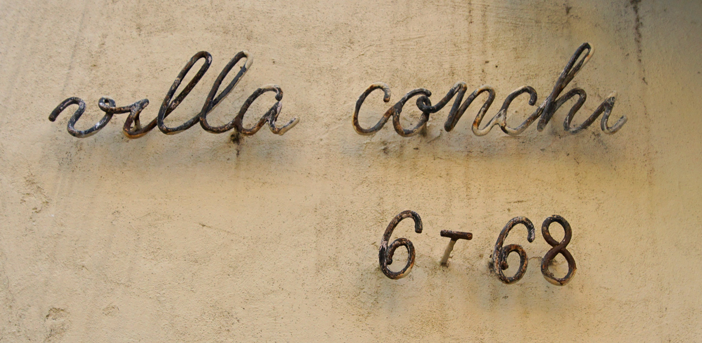 Monoline script for a house number