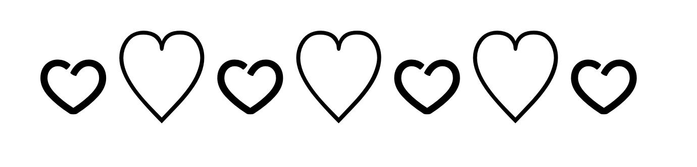 Kinetic font hearts