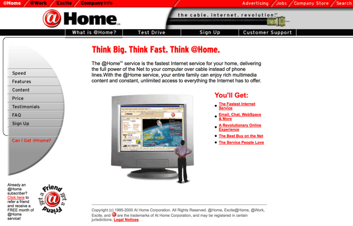 @Home Network's homepage, 2000