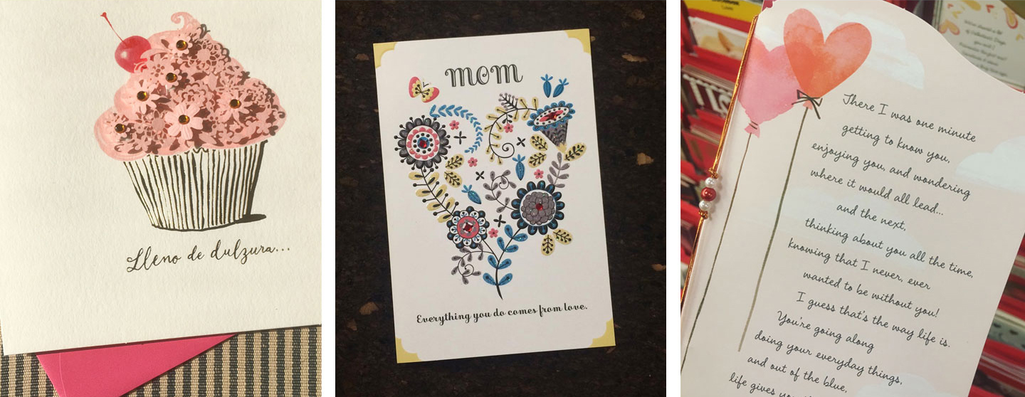 Examples of fonts in use on Hallmark Cards.