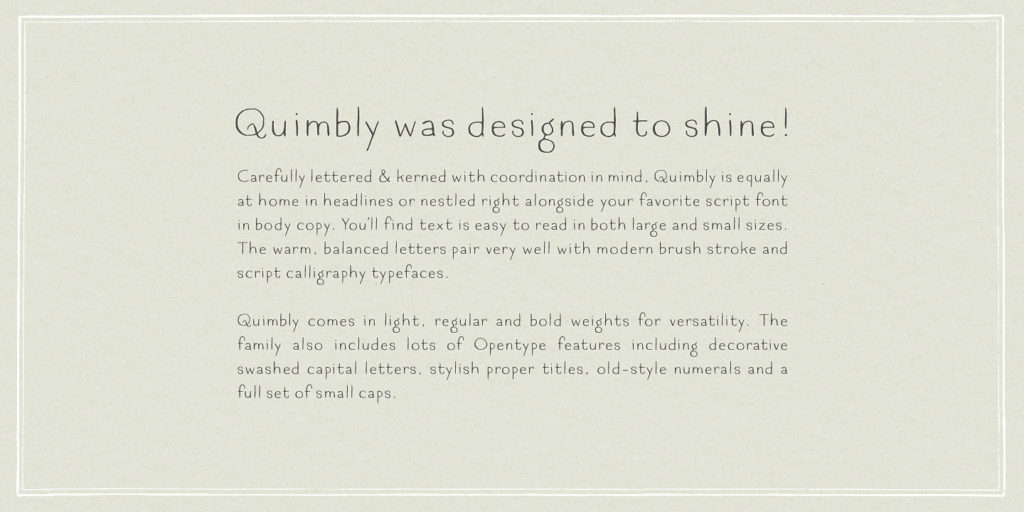 Type specimen for the Quimbly font family