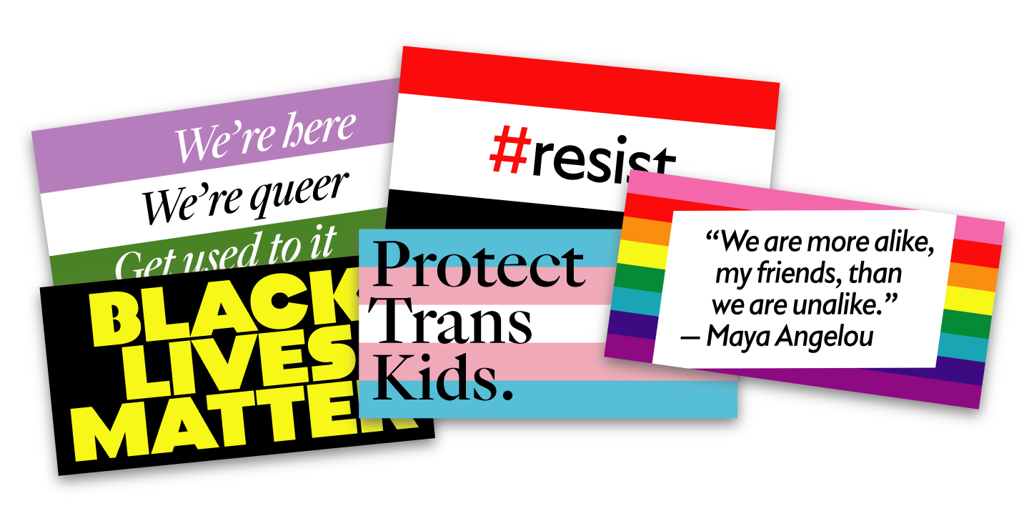 Five banners designed for the Oslo Pride parade