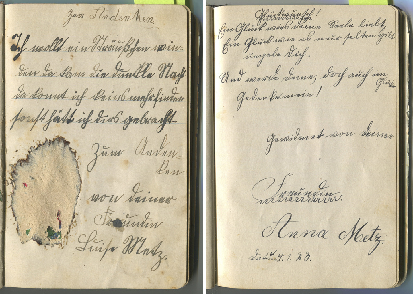 friendship book in Sütterlin. Frieda.