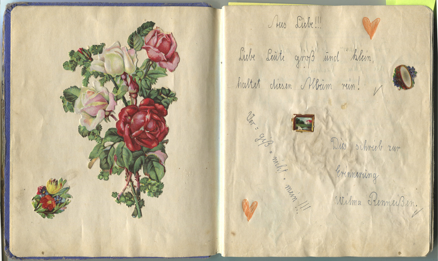 friendship book in Sütterlin. Wilma.