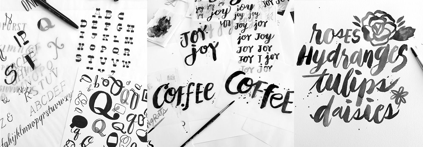 Various examples from a brush lettering workshop at Hallmark.