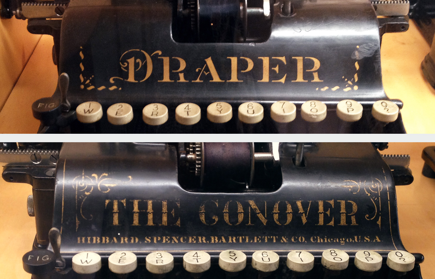 Samples of lettering work in two different typewriters