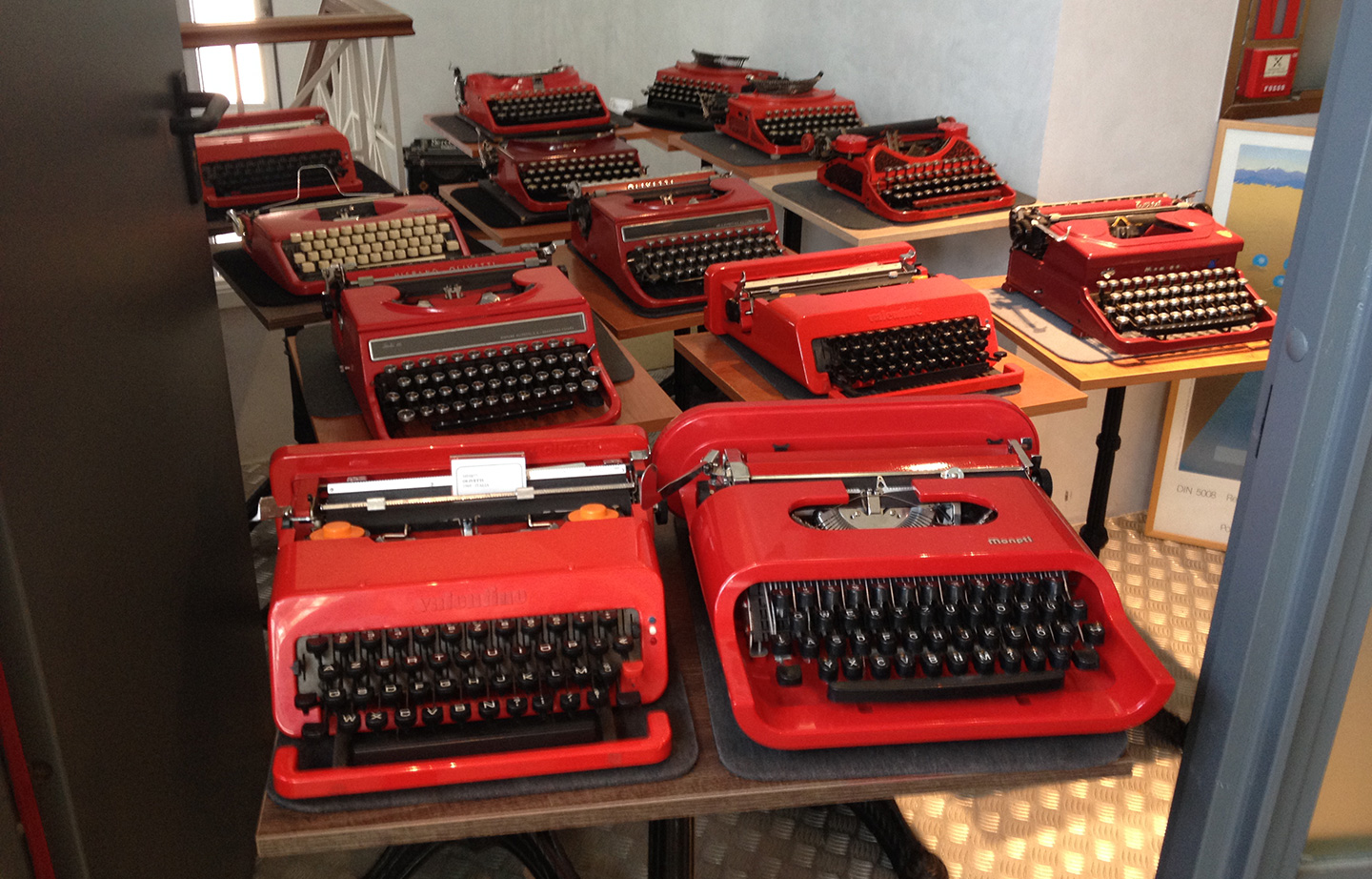 Group of different typewriters red models