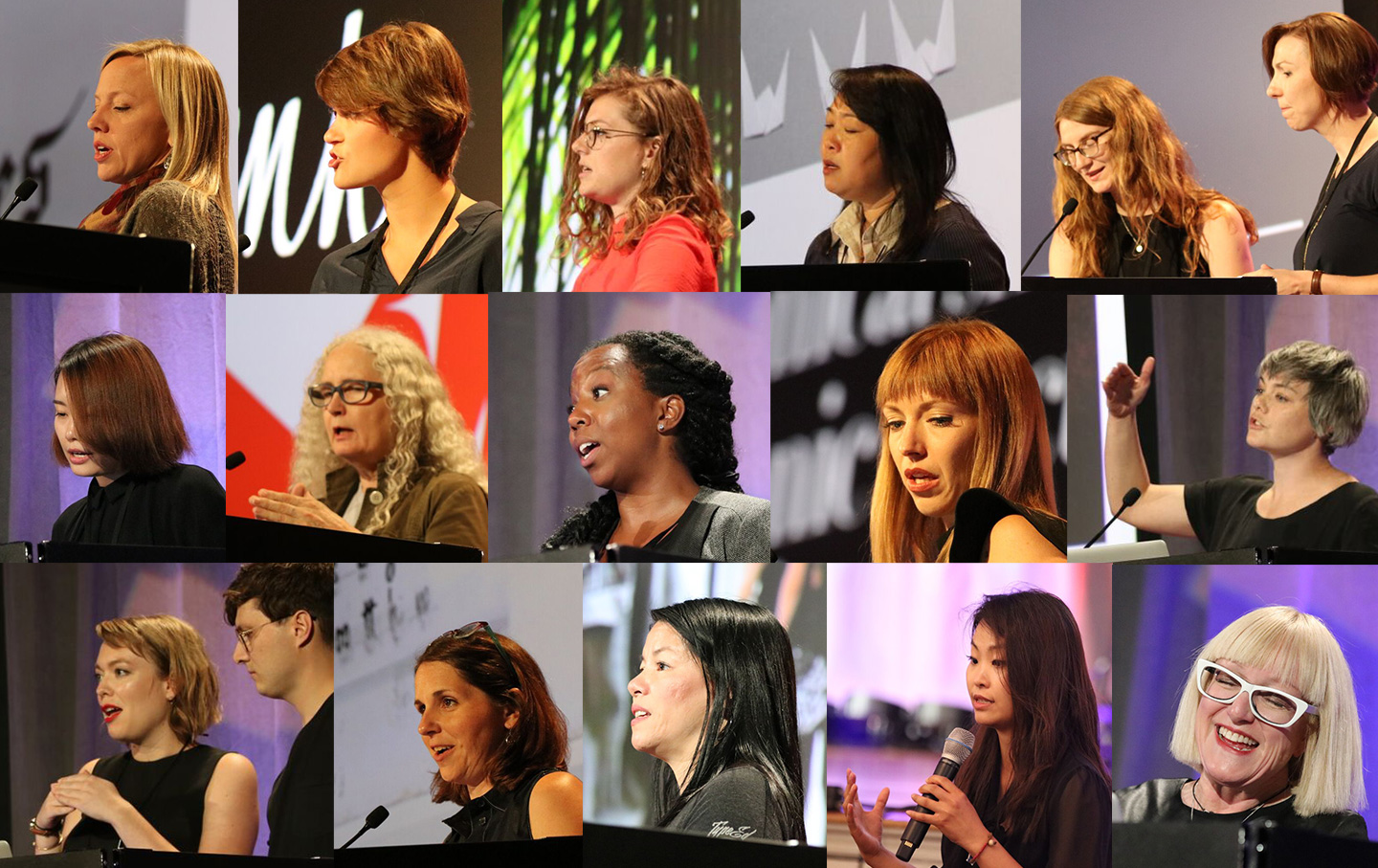 Grid of headshots of female speakers at TypeCon