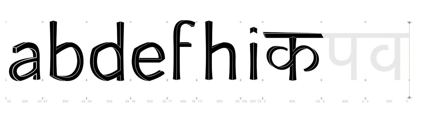 Intermediate design for letters a b d e f h i क