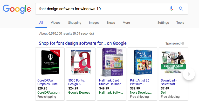 "a google search for ""font design software for windows 10"" turns up a bunch of unrelated things like CorelDRAW and Hallmark card design software."
