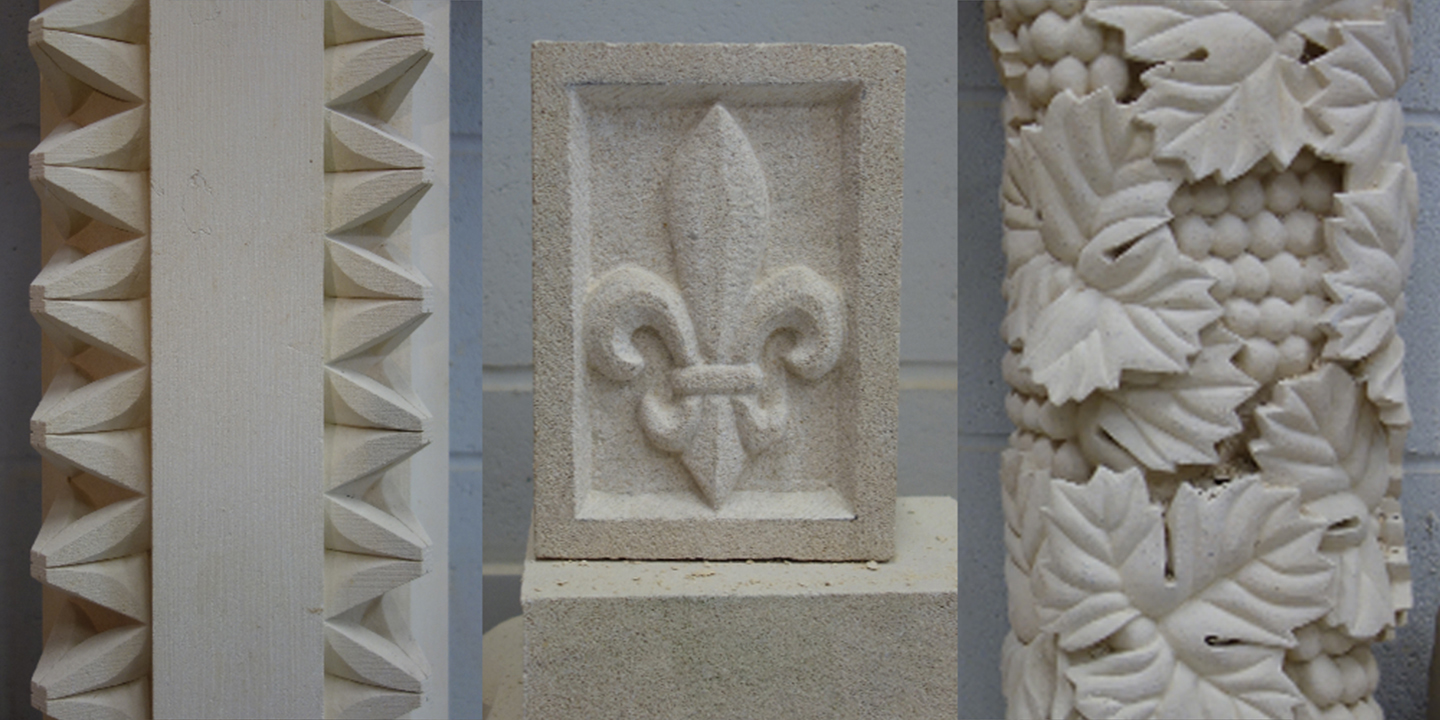 Carved dog-tooth hearth, Fleur de Lis, and grape leaves, all carved by master stone carver Eilidh Fridlington, Ministry of Stone, Lincoln, England