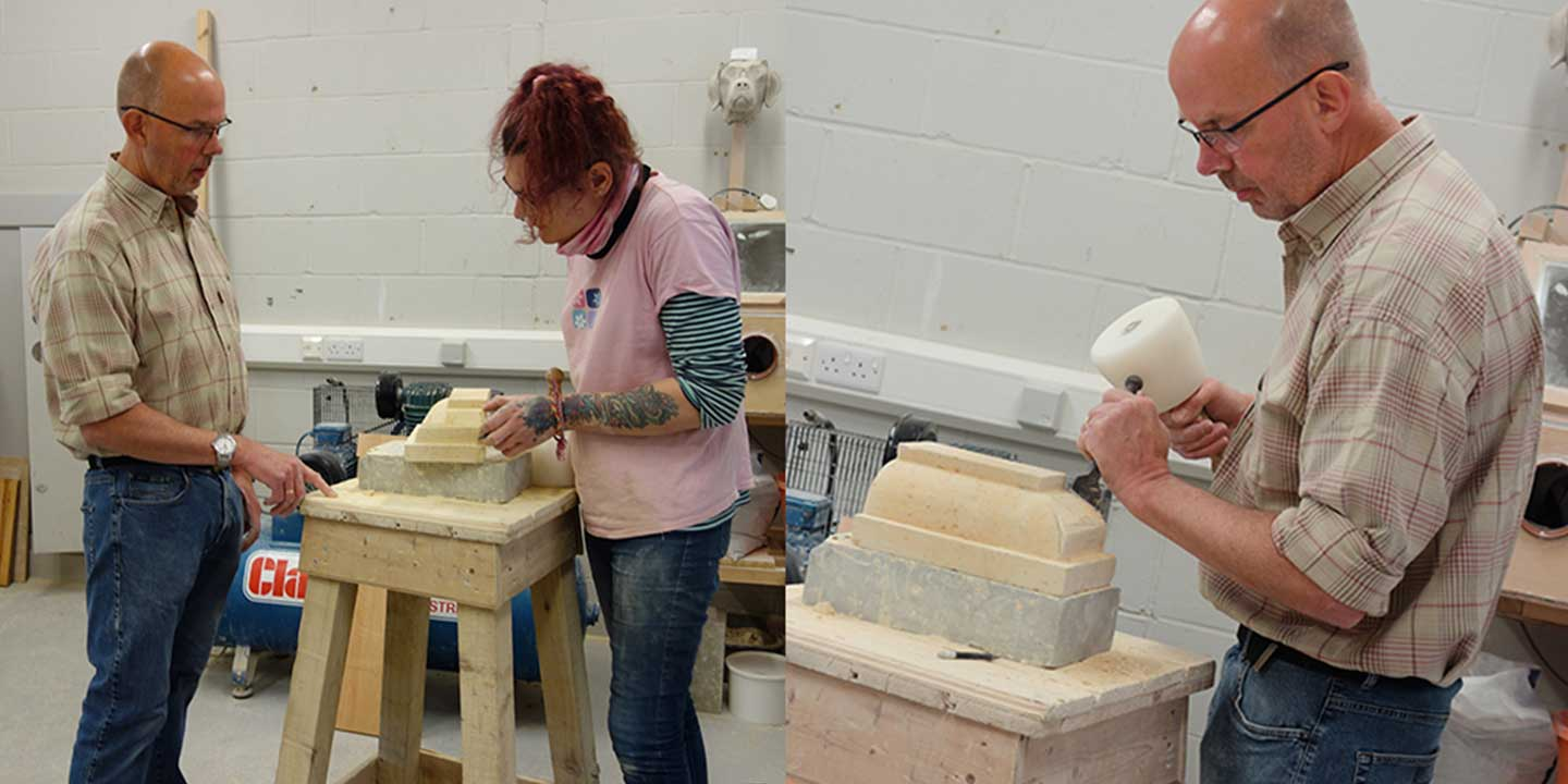 Novice stonecutter inside Ministry of Stone studio learning how to cut stone under guidance of Eilidh Fridlington