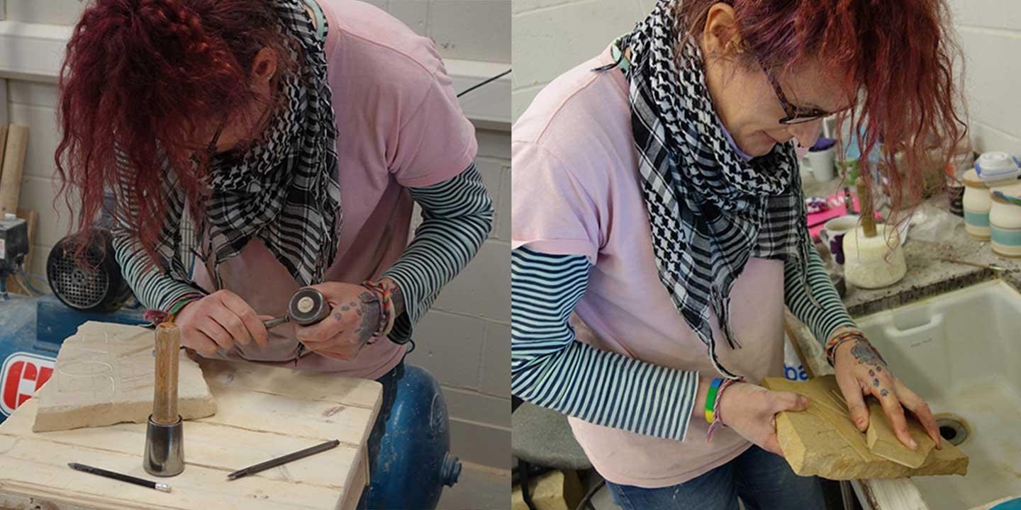 Eilidh Fridlington inside Ministry of Stone studio helping fix inconsistencies in stone cutting; Eilidh is hunched over bench in one image and cleaning the stone in the other