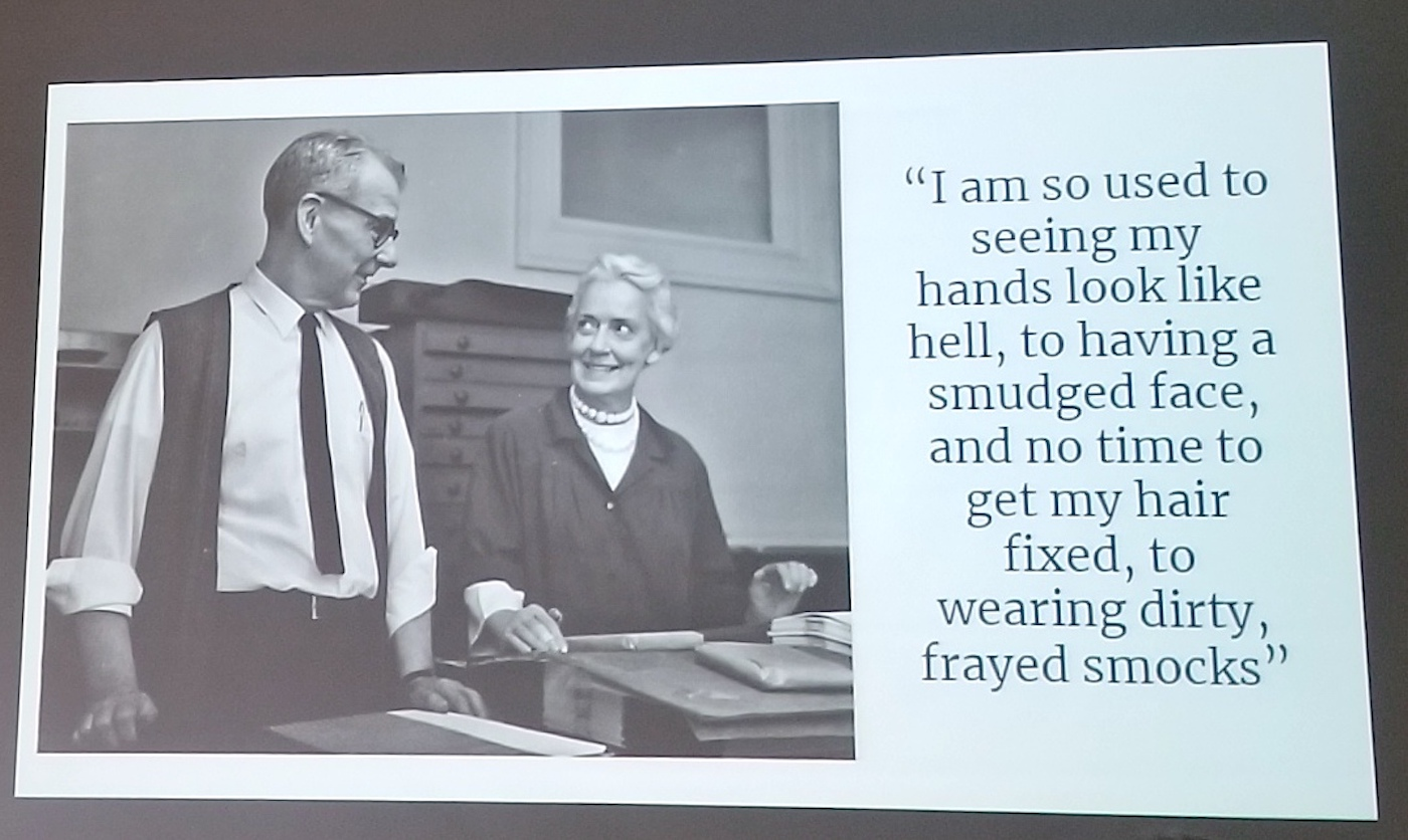 "slide from presentation with image on the left and quote on right from Jane Grabhorn which says ""I am so used to see my hands look like hell, to having my face smudged, and no time to get my hair fixed, to wearing dirty, frayed smocks"