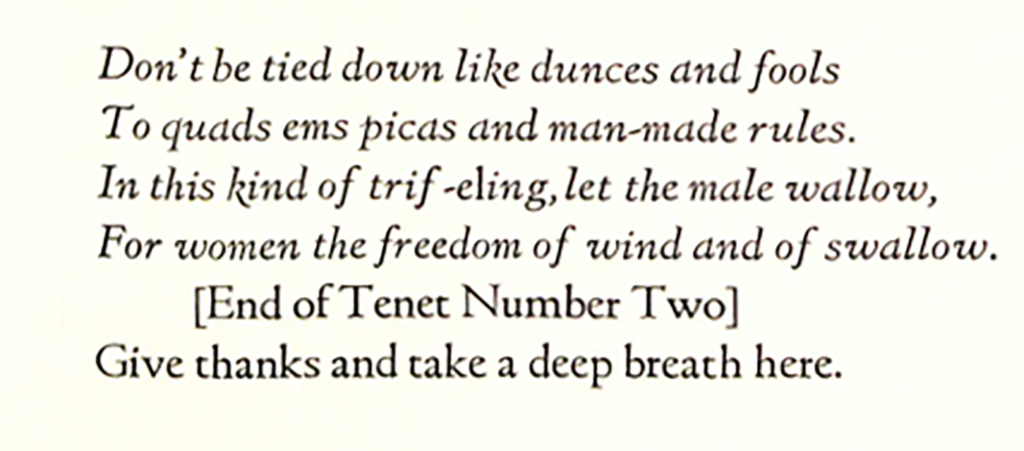 "Jane Grabhorn, ""Three Typographic Tenets"" from A Typografic Discourse (Tenet 2)"