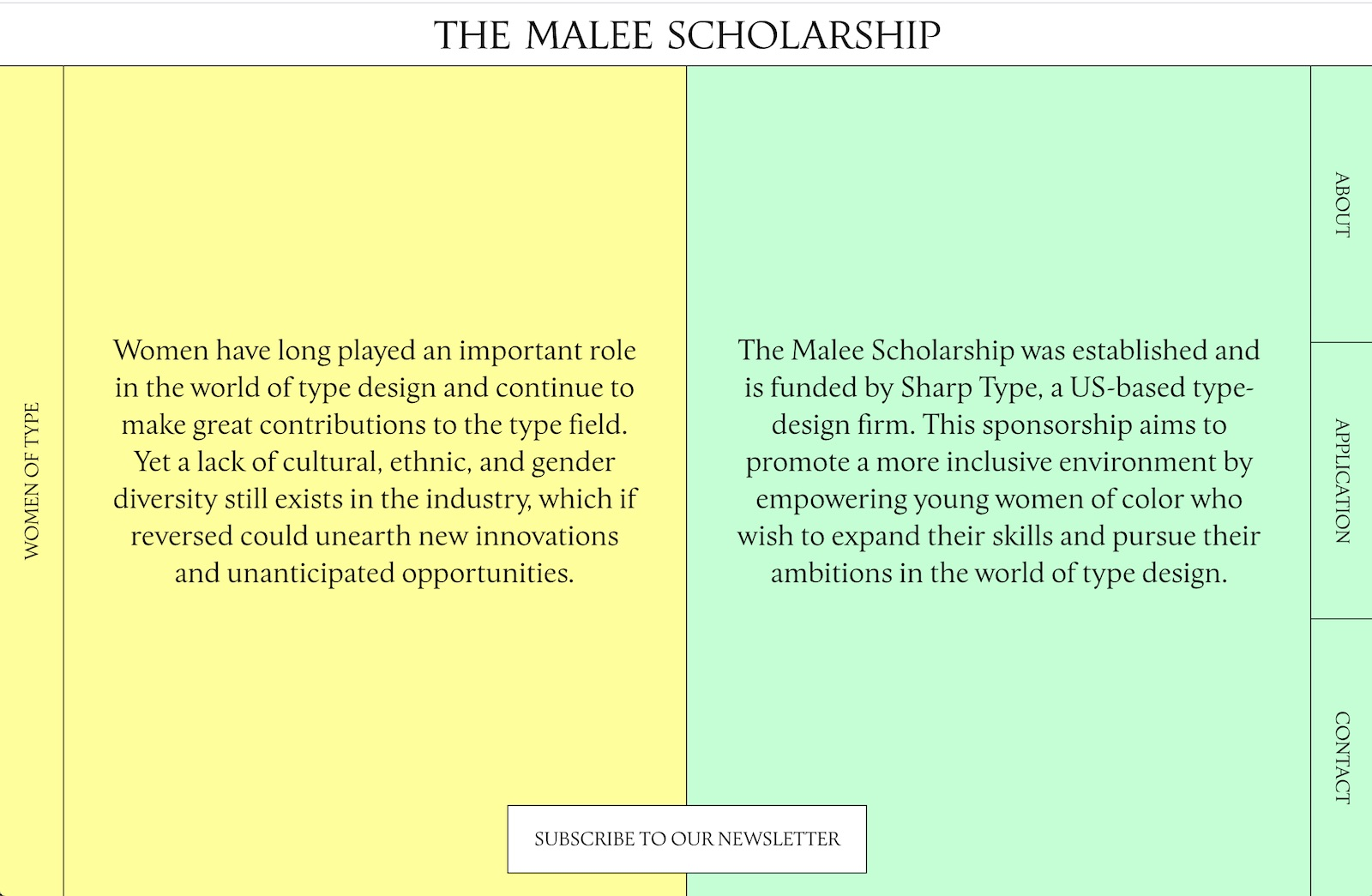 screenshot of malee scholarship homepage