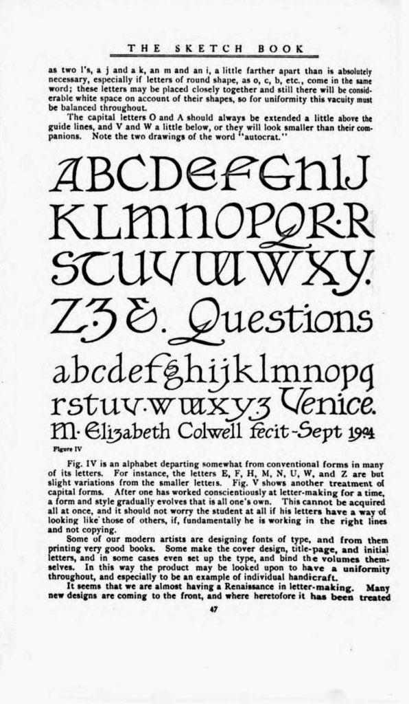 Excerpt of Elizabeth Colwell's Typeface in The Sketch Book