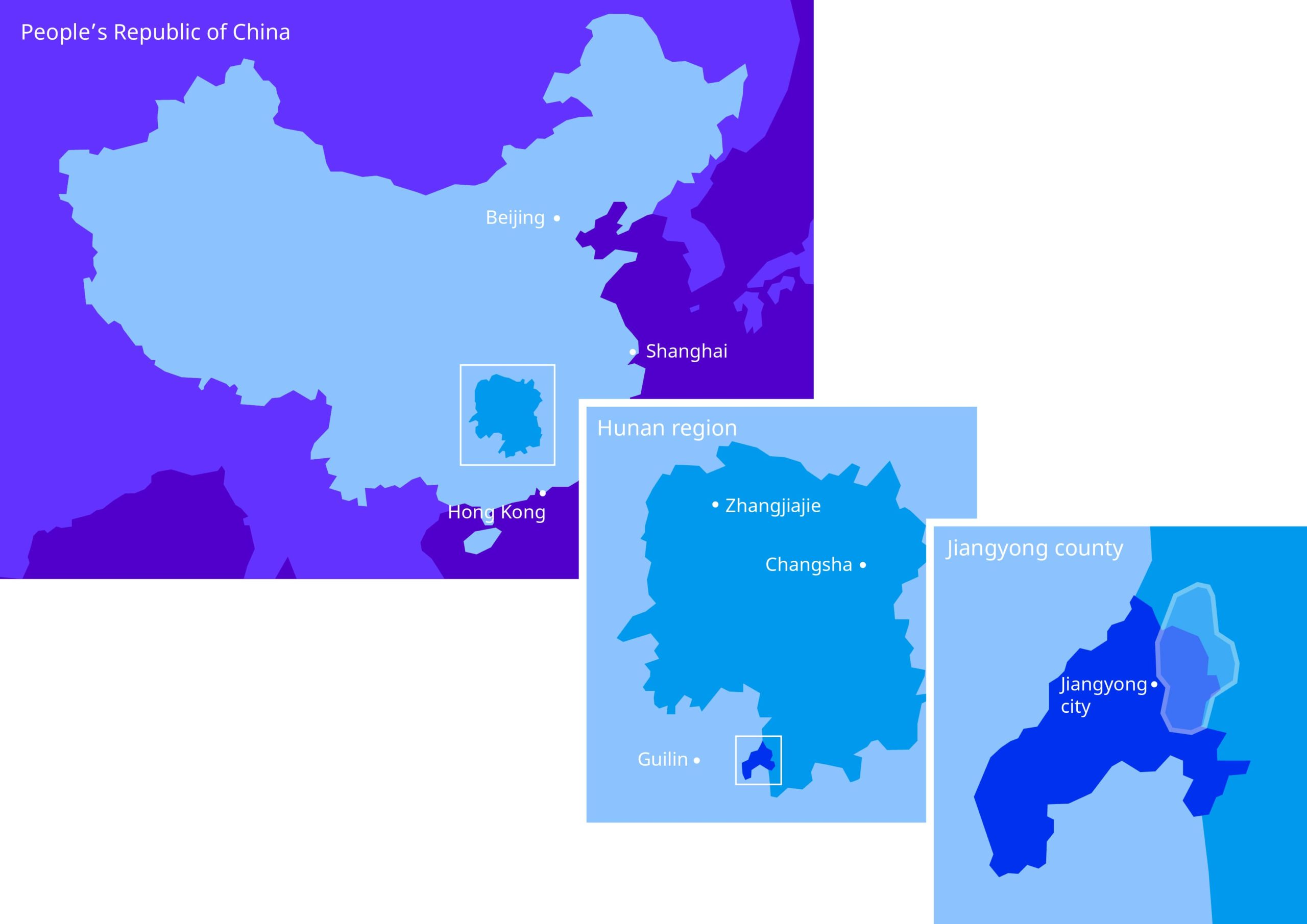 Illustration maps of China, zoom on Hunan region and Jiangyong county in shades of blue and purple