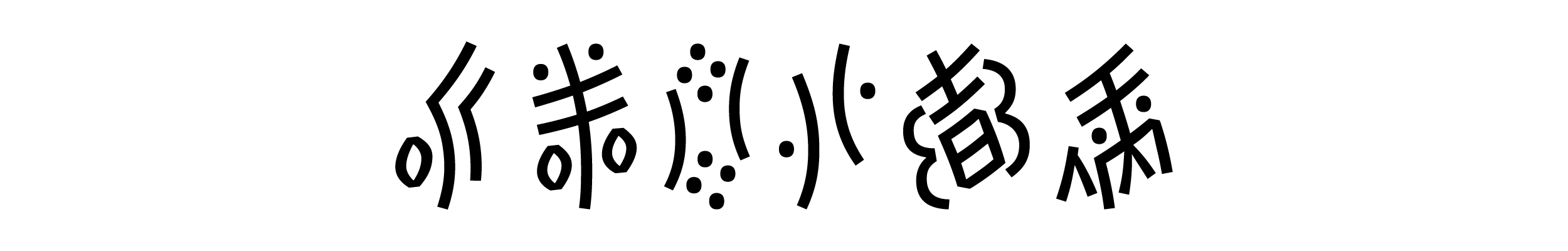 "Name ""Alphabettes"" transcribed into Nüshu's most common dialects phonemes, read from right to left: [ew] [lou] [fa] [ba] [tu] [su]"