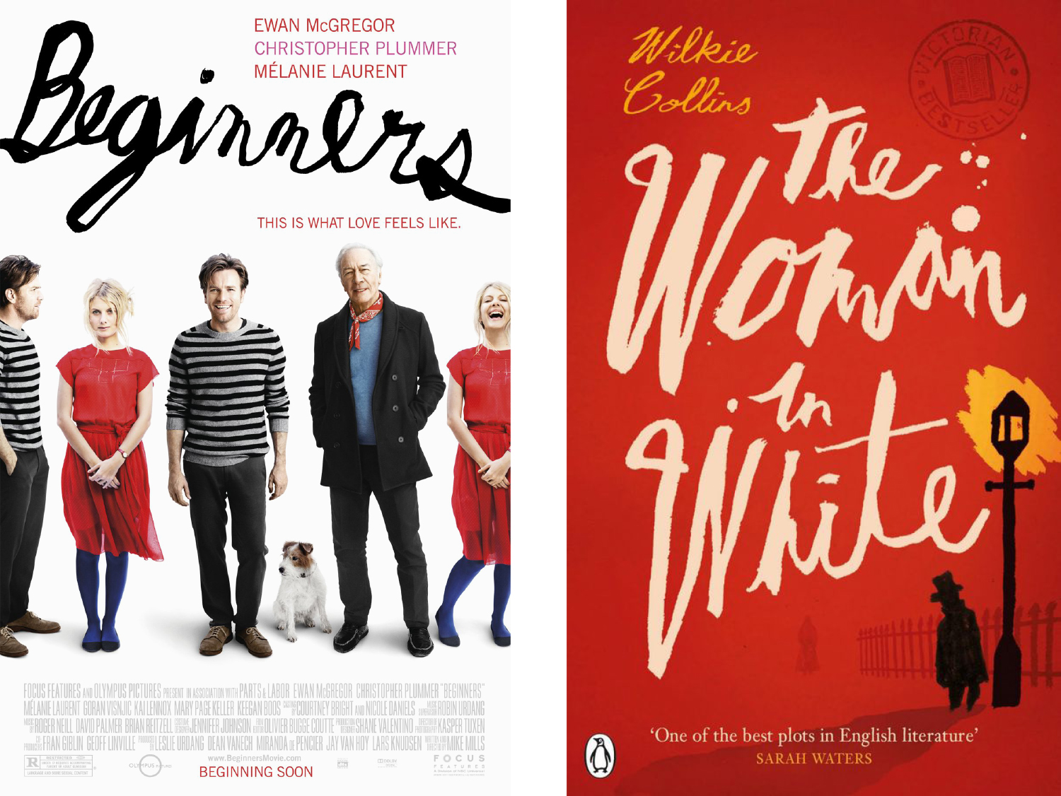 Beginners poster and The Woman in White cover