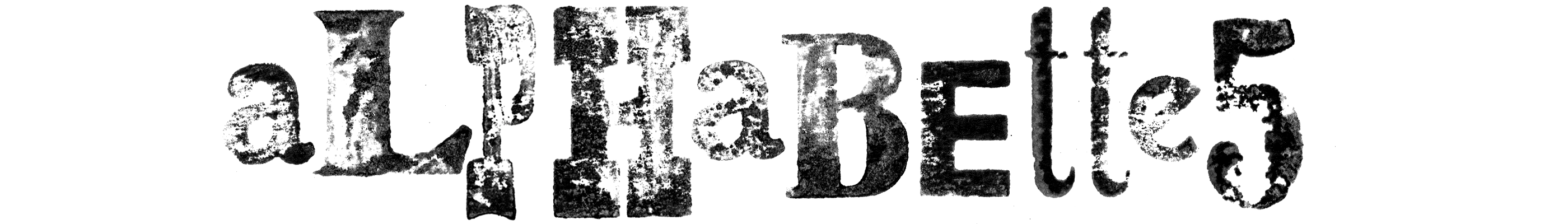 Alphabettes header set in wood type